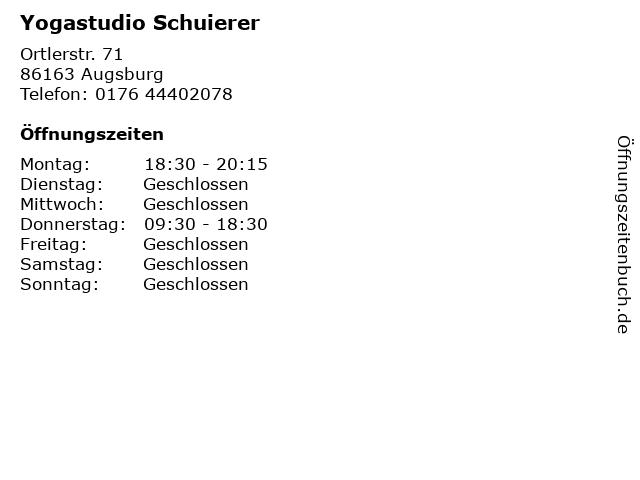 Yogastudio Schuierer in Augsburg: Adresse und Öffnungszeiten