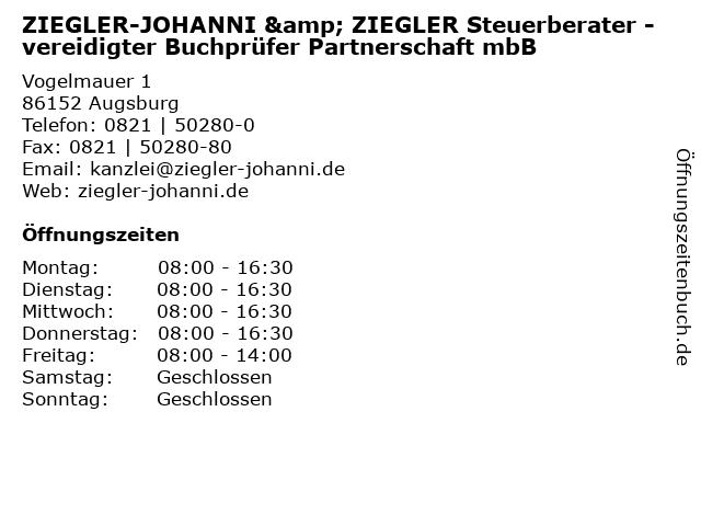 ZIEGLER-JOHANNI & ZIEGLER Steuerberater - vereidigter Buchprüfer Partnerschaft mbB in Augsburg: Adresse und Öffnungszeiten
