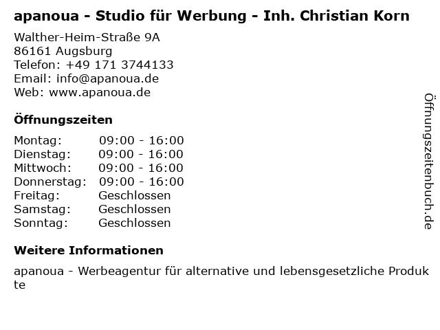 apanoua - Studio für Werbung - Inh. Christian Korn in Augsburg: Adresse und Öffnungszeiten