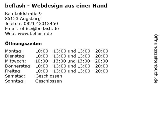 beflash - Webdesign aus einer Hand in Augsburg: Adresse und Öffnungszeiten