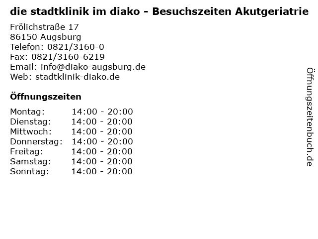 die stadtklinik im diako - Besuchszeiten Akutgeriatrie in Augsburg: Adresse und Öffnungszeiten