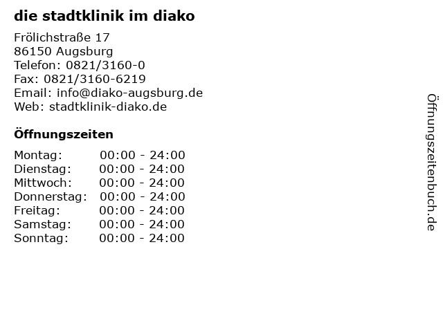 die stadtklinik im diako in Augsburg: Adresse und Öffnungszeiten
