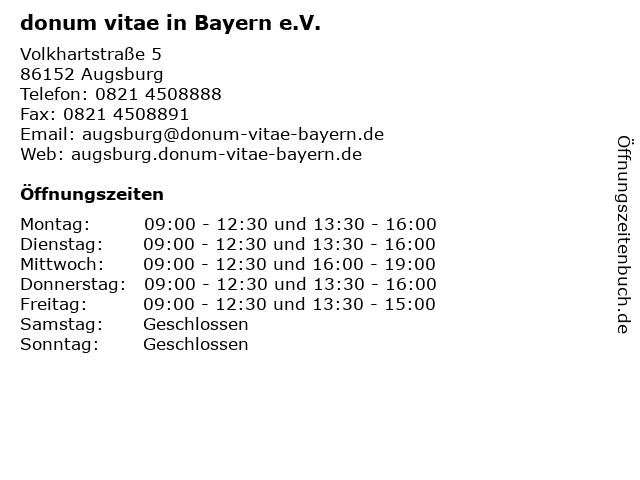 donum vitae in Bayern e.V. in Augsburg: Adresse und Öffnungszeiten