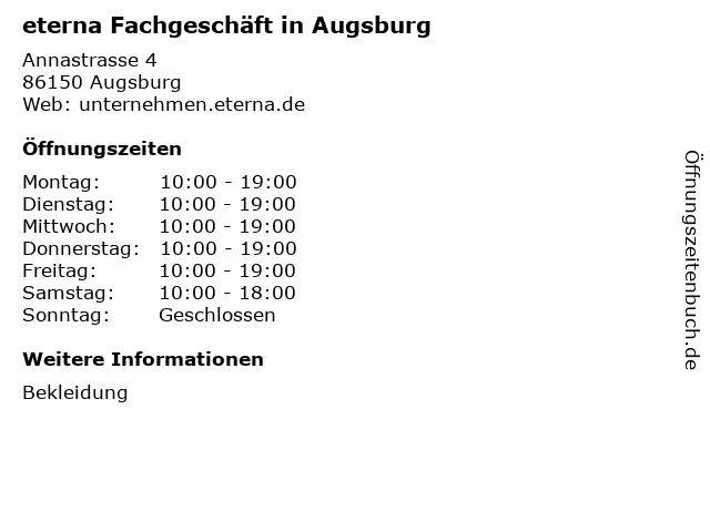 eterna Fachgeschäft in Augsburg in Augsburg: Adresse und Öffnungszeiten