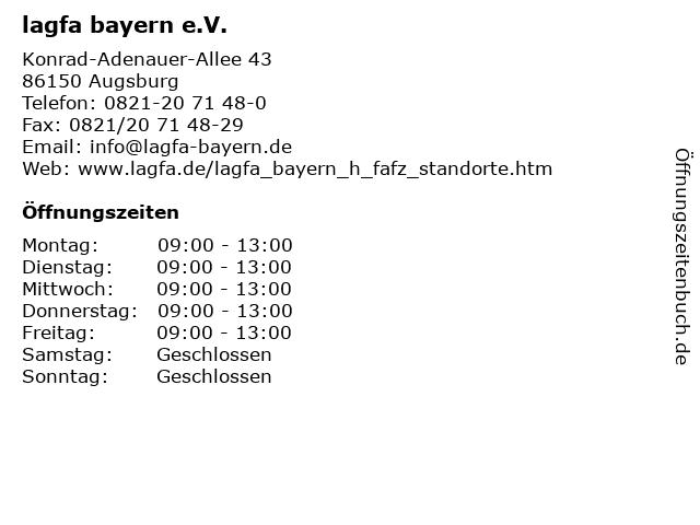 lagfa bayern e.V. in Augsburg: Adresse und Öffnungszeiten