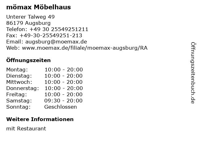 ᐅ Offnungszeiten Momax Mobelhaus Augsburg Unterer Talweg 49 In