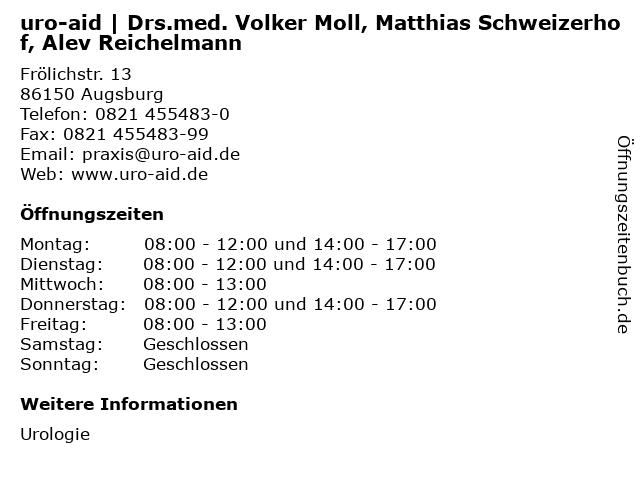 uro-aid | Drs.med. Volker Moll, Matthias Schweizerhof, Alev Reichelmann in Augsburg: Adresse und Öffnungszeiten