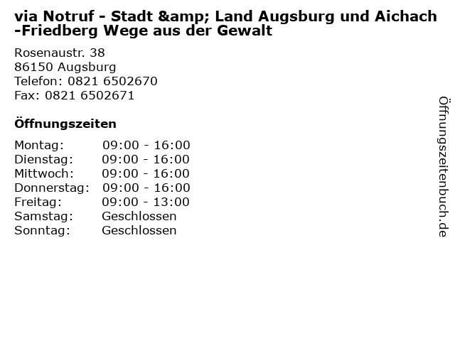 via Notruf - Stadt & Land Augsburg und Aichach-Friedberg Wege aus der Gewalt in Augsburg: Adresse und Öffnungszeiten