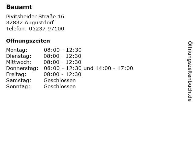 Bauamt in Augustdorf: Adresse und Öffnungszeiten