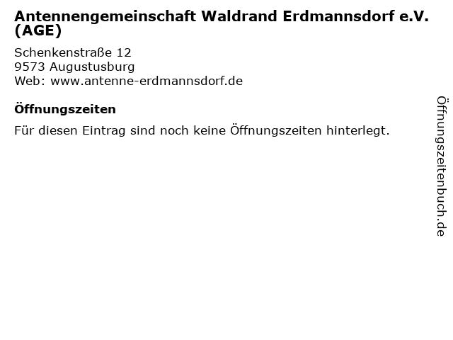 Antennengemeinschaft Waldrand Erdmannsdorf e.V. (AGE) in Augustusburg: Adresse und Öffnungszeiten