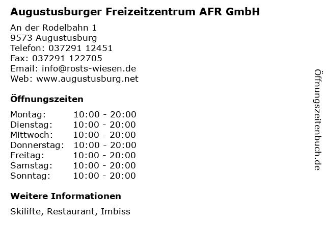 Augustusburger Freizeitzentrum AFR GmbH in Augustusburg: Adresse und Öffnungszeiten