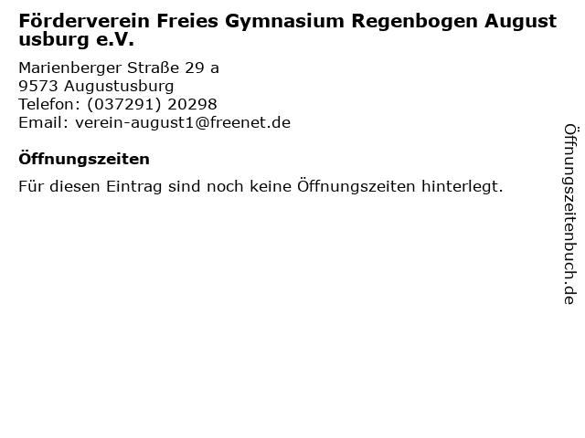 Förderverein Freies Gymnasium Regenbogen Augustusburg e.V. in Augustusburg: Adresse und Öffnungszeiten