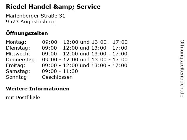 Riedel Handel & Service in Augustusburg: Adresse und Öffnungszeiten