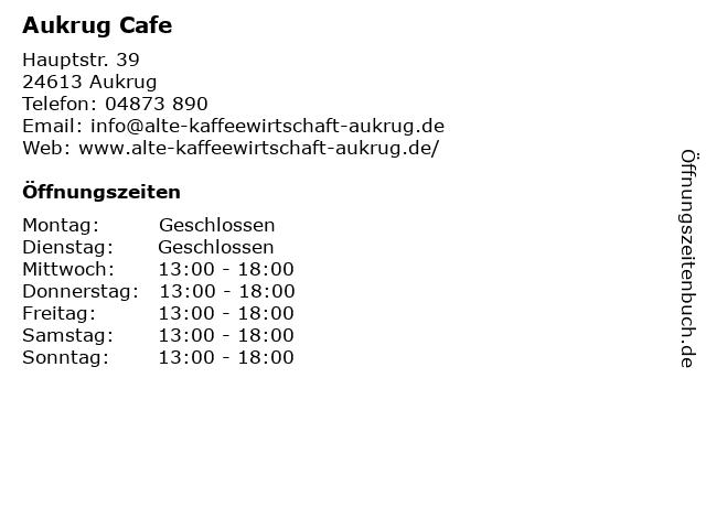 Aukrug Cafe in Aukrug: Adresse und Öffnungszeiten