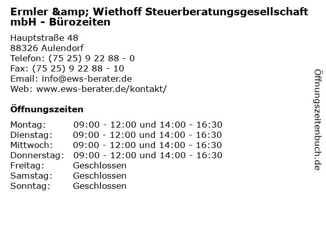 Ermler & Wiethoff Steuerberatungsgesellschaft mbH - Bürozeiten in Aulendorf: Adresse und Öffnungszeiten