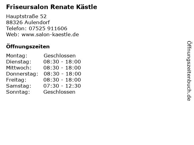 Friseursalon Renate Kästle in Aulendorf: Adresse und Öffnungszeiten