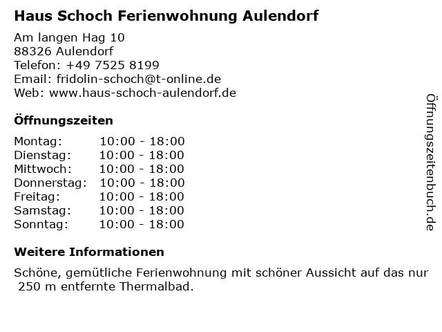 Haus Schoch Ferienwohnung Aulendorf in Aulendorf: Adresse und Öffnungszeiten