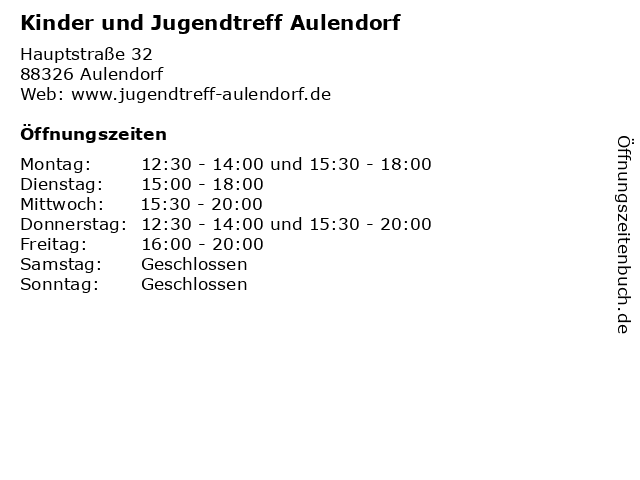 Kinder und Jugendtreff Aulendorf in Aulendorf: Adresse und Öffnungszeiten