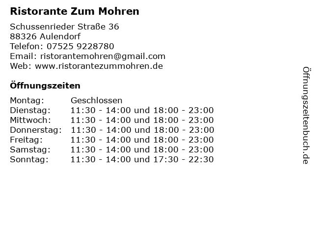 Ristorante Zum Mohren in Aulendorf: Adresse und Öffnungszeiten