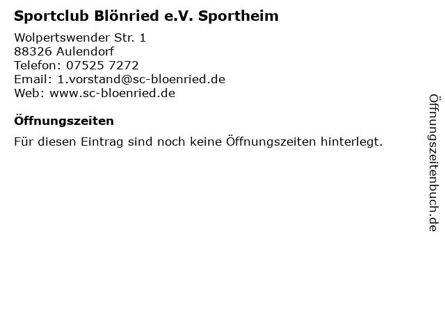 Sportclub Blönried e.V. Sportheim in Aulendorf: Adresse und Öffnungszeiten