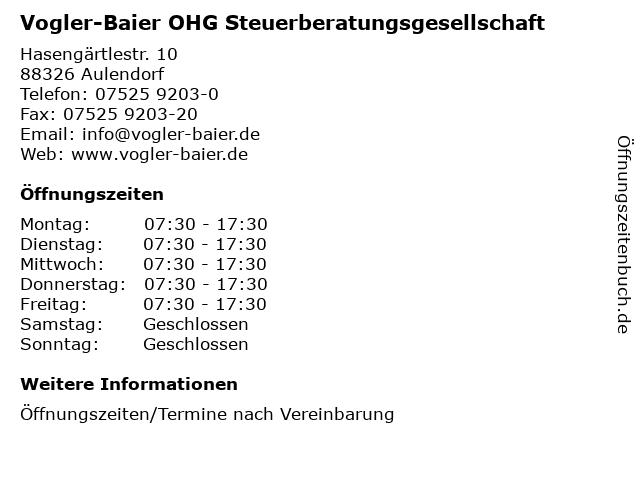 Vogler-Baier OHG Steuerberatungsgesellschaft in Aulendorf: Adresse und Öffnungszeiten