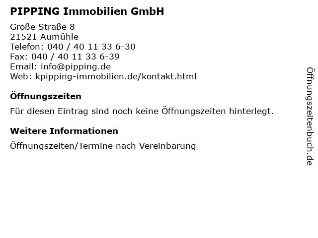 PIPPING Immobilien GmbH in Aumühle: Adresse und Öffnungszeiten