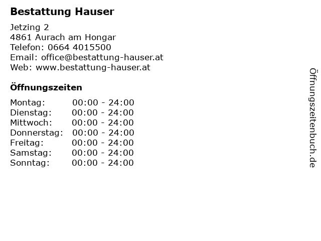 Bestattung Hauser in Aurach am Hongar: Adresse und Öffnungszeiten