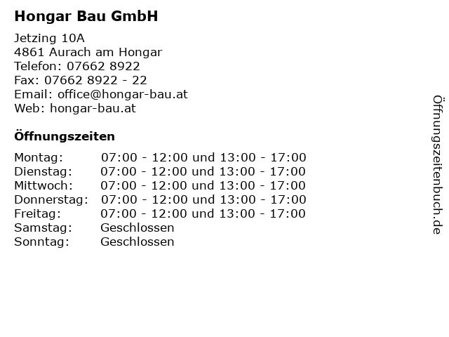 Hongar Bau GmbH in Aurach am Hongar: Adresse und Öffnungszeiten