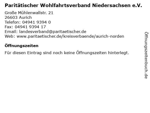 Paritätischer Wohlfahrtsverband Niedersachsen e.V. in Aurich: Adresse und Öffnungszeiten