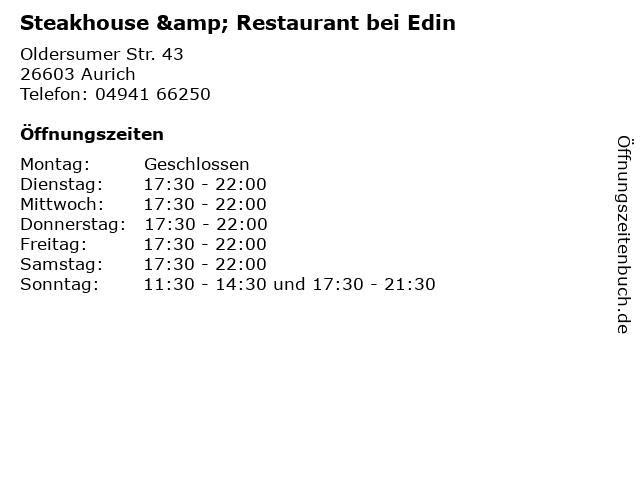Steakhouse & Restaurant bei Edin in Aurich: Adresse und Öffnungszeiten