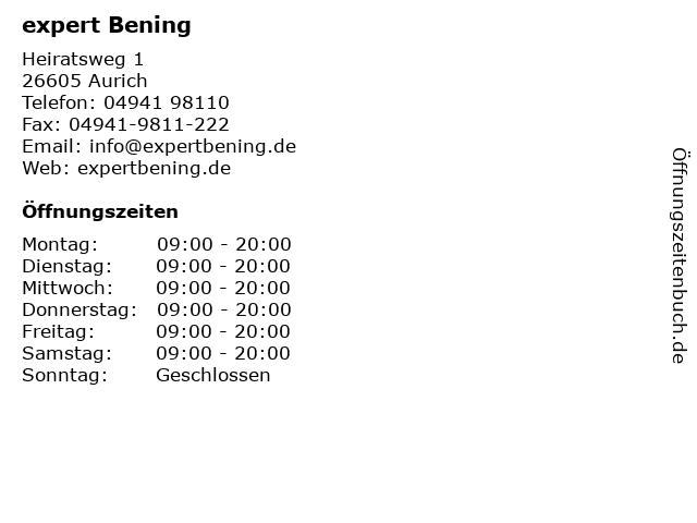 expert Bening in Aurich: Adresse und Öffnungszeiten