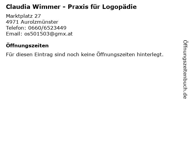 Claudia Wimmer - Praxis für Logopädie in Aurolzmünster: Adresse und Öffnungszeiten