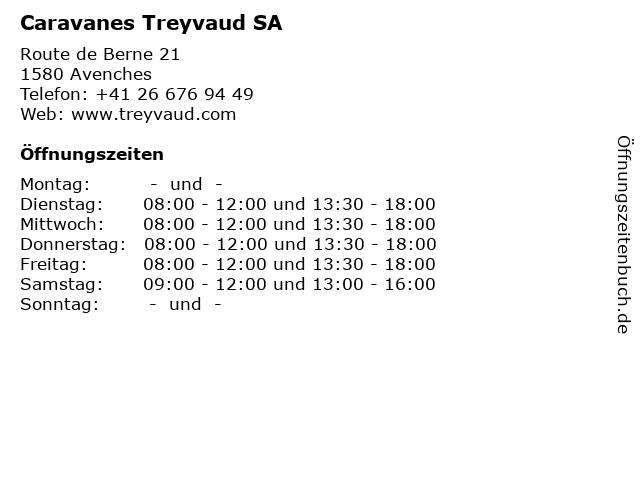 Caravanes Treyvaud SA in Avenches: Adresse und Öffnungszeiten