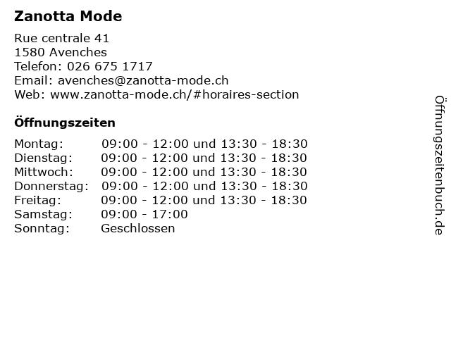 Zanotta Mode in Avenches: Adresse und Öffnungszeiten
