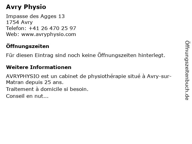 Avry Physio in Avry: Adresse und Öffnungszeiten