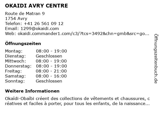 OKAIDI AVRY CENTRE in Avry: Adresse und Öffnungszeiten