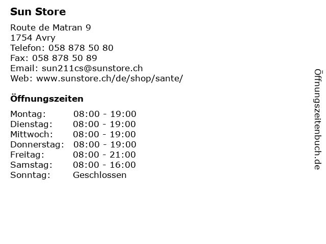 Sun Store in Avry: Adresse und Öffnungszeiten