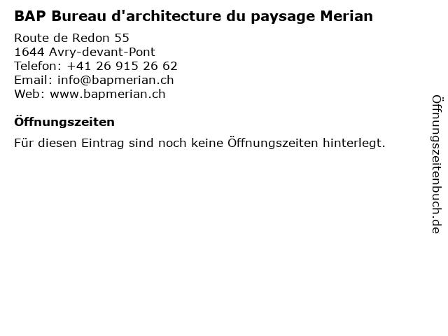 BAP Bureau d'architecture du paysage Merian in Avry-devant-Pont: Adresse und Öffnungszeiten