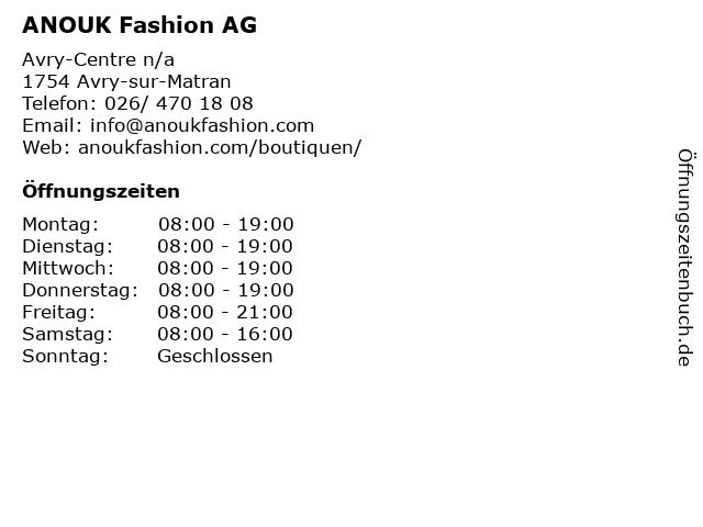 ANOUK Fashion AG in Avry-sur-Matran: Adresse und Öffnungszeiten