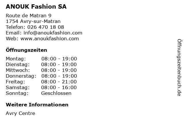 ANOUK Fashion SA in Avry-sur-Matran: Adresse und Öffnungszeiten