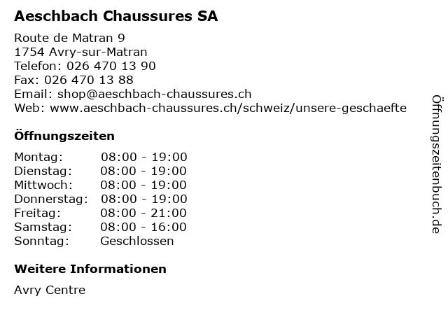 Aeschbach Chaussures SA in Avry-sur-Matran: Adresse und Öffnungszeiten