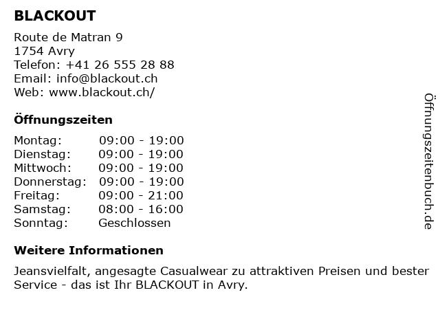 Blackout AG Mode in Avry-sur-Matran: Adresse und Öffnungszeiten
