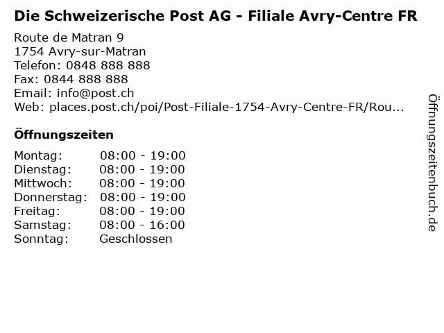 Die Schweizerische Post AG - Filiale Avry-Centre FR in Avry-sur-Matran: Adresse und Öffnungszeiten