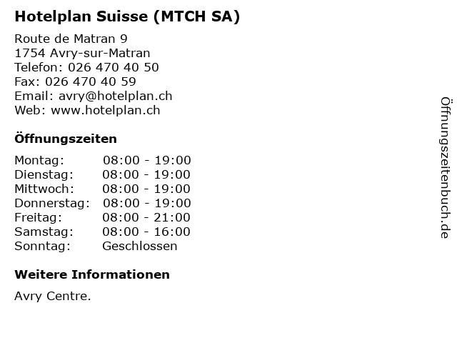 Hotelplan Suisse (MTCH SA) in Avry-sur-Matran: Adresse und Öffnungszeiten