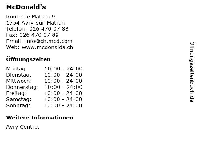 McDonald's in Avry-sur-Matran: Adresse und Öffnungszeiten