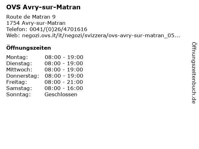 OVS Avry-sur-Matran in Avry-sur-Matran: Adresse und Öffnungszeiten