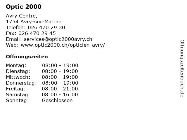 Optic 2000 in Avry-sur-Matran: Adresse und Öffnungszeiten
