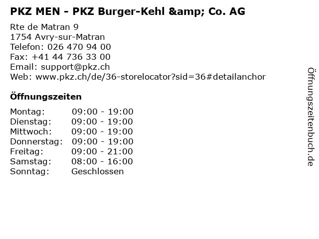 PKZ MEN - PKZ Burger-Kehl & Co. AG in Avry-sur-Matran: Adresse und Öffnungszeiten