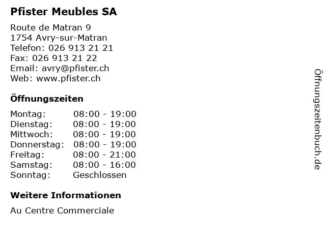 Pfister Meubles SA in Avry-sur-Matran: Adresse und Öffnungszeiten