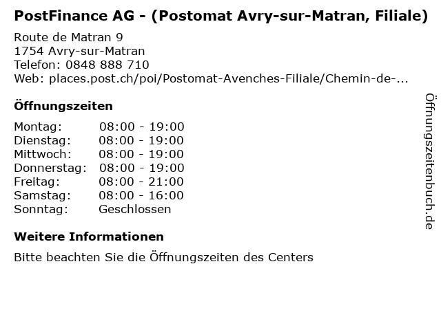 PostFinance AG - (Postomat Avry-sur-Matran, Filiale) in Avry-sur-Matran: Adresse und Öffnungszeiten